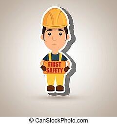 sécurité, premier, ouvrier, icône