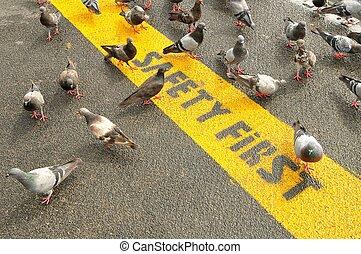 sécurité, premier, prudence, bande, signe