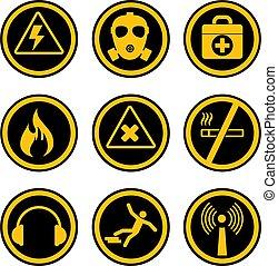 sécurité, professionnel, santé, icônes