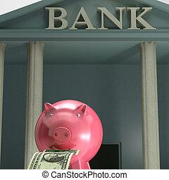 sécurité, projection, piggybank, économie, banque