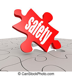 sécurité,  Puzzle, mot, fond