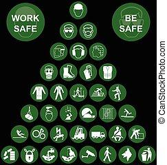 sécurité, santé, pyramide, ico, vert