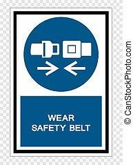 sécurité, signe, transparent, usure, symbole, illustration, isoler, ceinture, fond