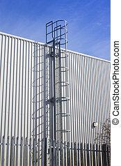 sécurité, usine, extérieur, échelle