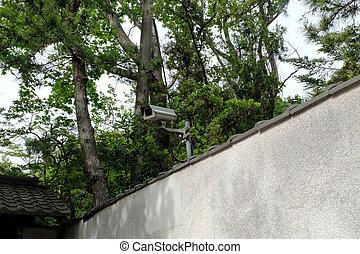 sécurité, wall., cctv, contre, surveillance., mur, arrière-plan., appareil photo, intimité, gris, fermé, &, maison, gris, protection, crime, circuit, béton