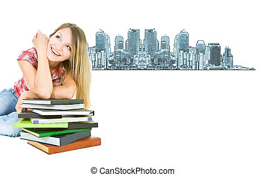 séduisant, étudiant, girl, à, tas livres, sur, ville, fond