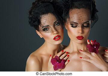séduisant, aspiration., craving., deux, fleurs, fervent, femmes