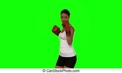 séduisant, boxe, femme