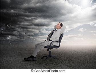 séduisant, chaise pivotante, homme affaires, séance