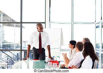 séduisant, conversation, réunion, homme affaires