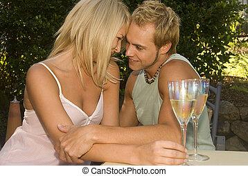 séduisant, couple dîner, dehors, à, les, café