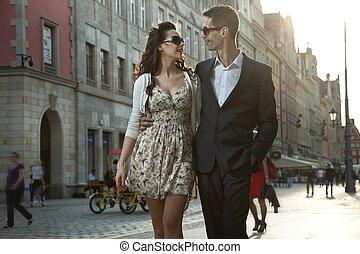 séduisant, couple, sur, date