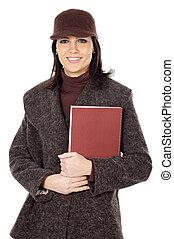 séduisant, dame, étudiant, à, livre