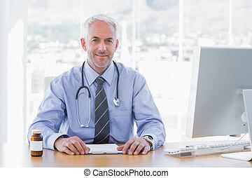séduisant, docteur, séance, à, sien, bureau