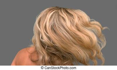 séduisant, elle, cheveux, lancer, femme, o