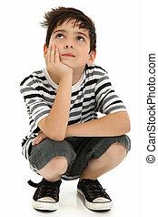 séduisant, enfant garçon, pensée