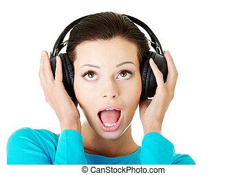 séduisant, femme, à, headphones.