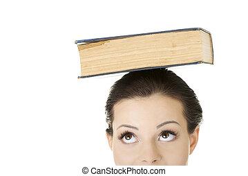 séduisant, femme, à, livre, sur, tête