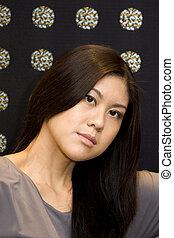 séduisant, femme, asiatique, jeune
