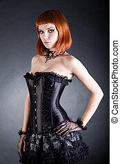 séduisant, femme, dans, noir, corset