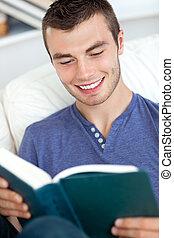 séduisant, livre lecture, li, homme