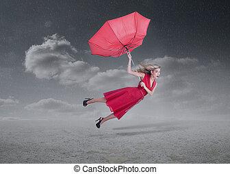 séduisant, parapluie, femme, cassé, voler