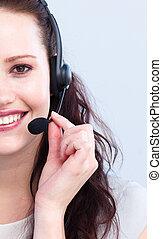 séduisant, portrait, casque à écouteurs, femme souriante