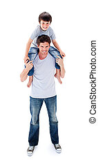 séduisant, sien, cavalcade, donner, père, fils, ferroutage