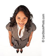 séduisant, sourire, femme affaires, haut angle