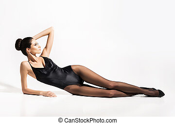 séduisant, sous-vêtements, femme, sur, mince, isolé,...