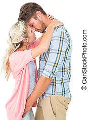 séduisant, sur, couple, baiser, jeune