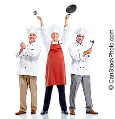 séf, cooking., group.