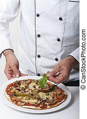 séf, díszít, egy, pizza, noha, fűszeráruk