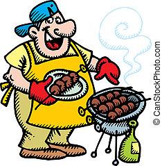 séf, grillsütő hús