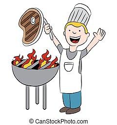 séf, hússzelet, roston sütés