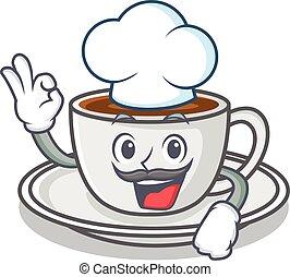 séf, kávécserje, betű, mód, karikatúra