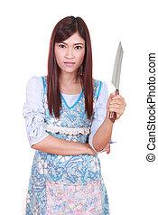 séf, kés, birtok, női, faragás