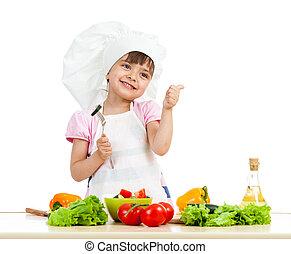séf, leány, előkészítő, egészséges táplálék, felett, white...