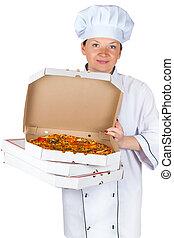 séf, noha, egy, pizza
