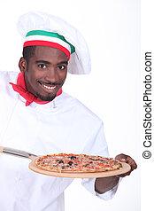 séf, noha, pizza, képben látható, egy, fából való, hámlik