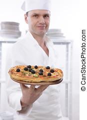 séf, noha, pizza