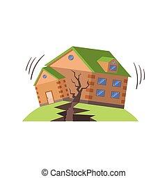 séisme, naturel, menace, forces, huse