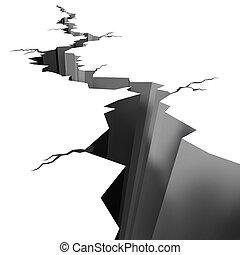 séisme, terre fissurée, plancher