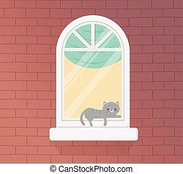 séjour, gris, maison, chat, reposer, quarantaine, fenêtre