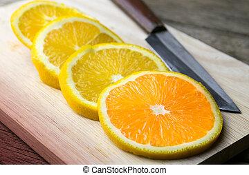 sélectif, foyer., planche découper, orange fraîche, knife.