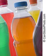 sélection, bouteilles, boisson fizzy
