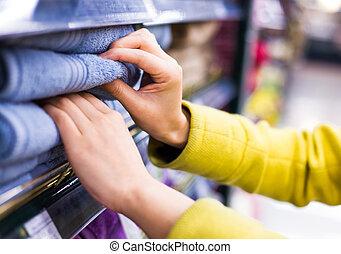 sélection, closeup, marchandise, supermarché