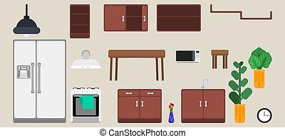 sélection, cuisine, intérieur, meubles, détails