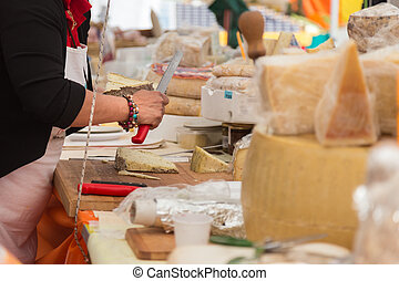 sélection, fromage, grand, cheeses., market.