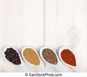 sélection, herbes, épices, coloré